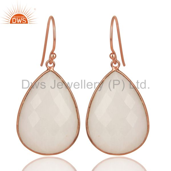 14K Rose Gold Plated Sterling Silver Handmade White Agate Bezel Drops Earrings