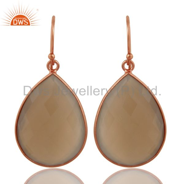 18K Rose Gold Plated Sterling Silver Dyed Grey Chalcedony Bezel Set Drop Earring
