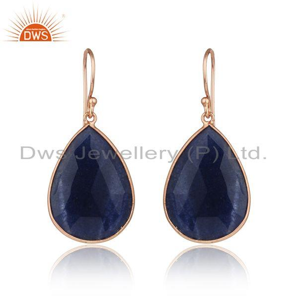 Dyed Sapphire Gemstone Rose Gold Plated 925 Silver Drop Earrings