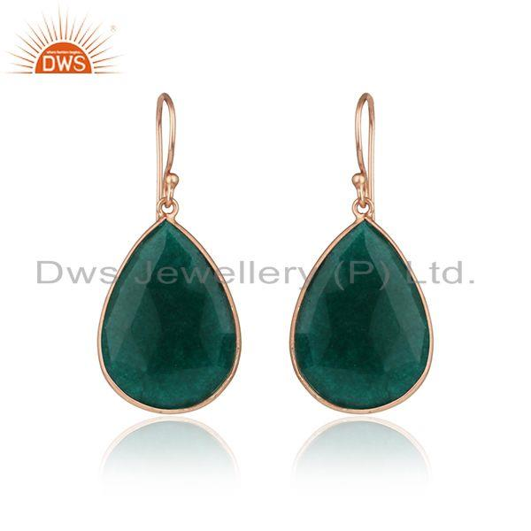 Pear Shape Dyed Emerald Rose Gold Plated Silver Tear Drop Earring