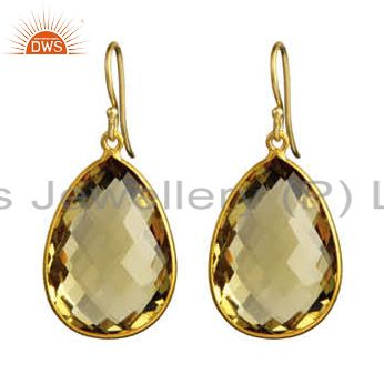 18K Yellow Gold Plated Sterling Silver Lemon Topaz Bezel Set Drop Earrings