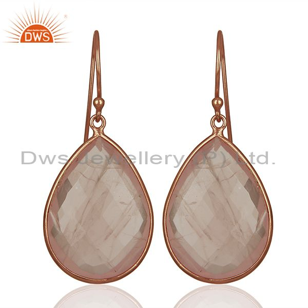 Rose Gold Plated 925 Silver Rose Quartz Gemstone Earrings Manufacturer