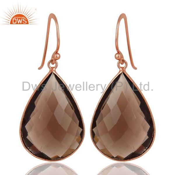 18K Rose Gold Plated Sterling Silver Bezel-Set Smoky Quartz Drop Earrings