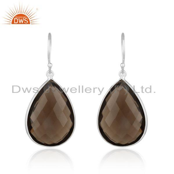 Handcrafted elegant dangle gemstone silver 925 earring in smoky
