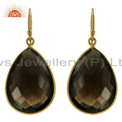 22K Yellow Gold Plated Sterling Silver Smoky Quartz Bezel Set Drop Earrings