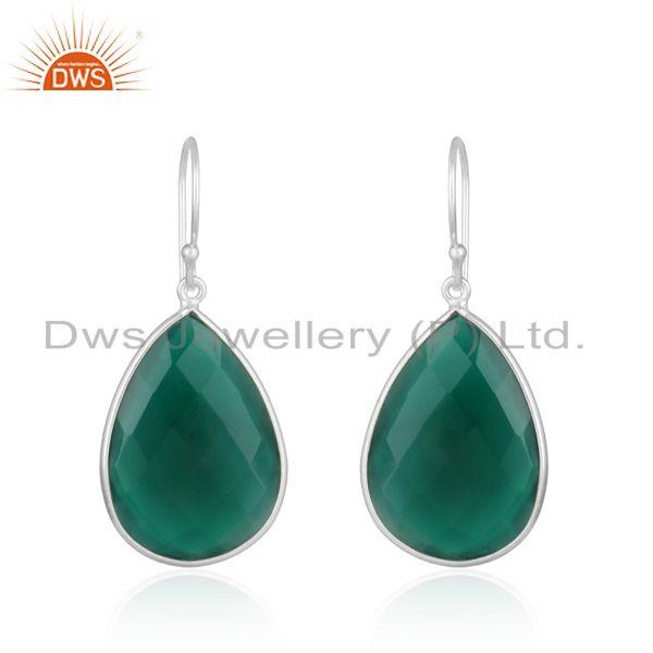 Handcrafted elegant dangle gemstone silver earring in green onyx