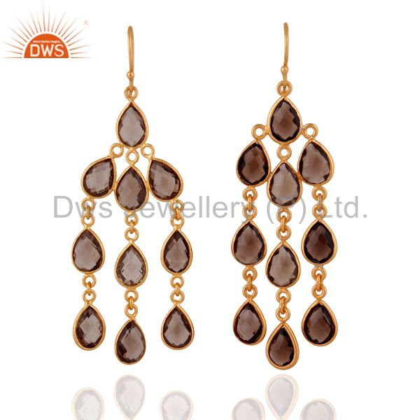18K Yellow Gold Plated Faceted Smoky Quartz Chandelier Brass Earrings