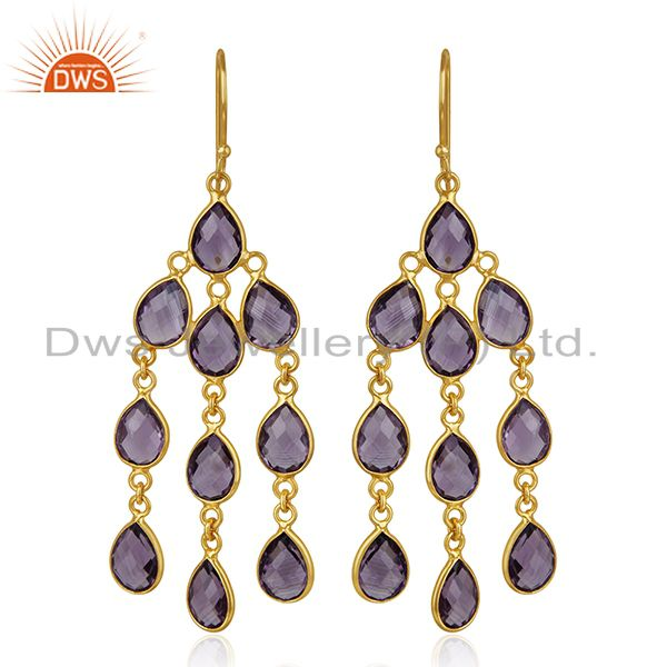 Amethyst Gemstone 925 Sterling Silver Gold Plated Dangle Earrings Manufacturer