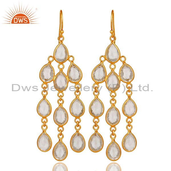 18K Yellow Gold Plated Sterling Silver Crystal Quartz Bridal Chandelier Earrings
