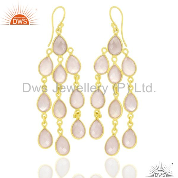18K Yellow Gold Plated Sterling Silver Rose Chalcedony Chandelier Earrings