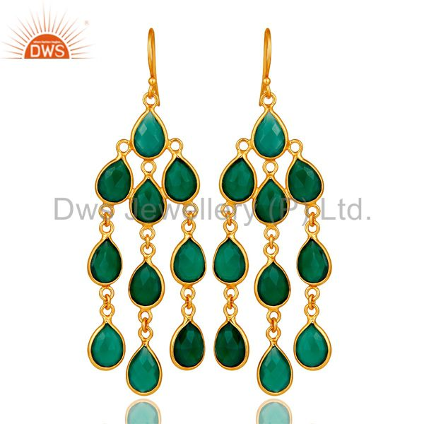 18K Yellow Gold Plated Sterling Silver Green Onyx Bezel Set Chandelier Earrings
