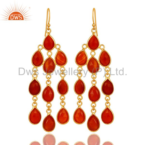 18K Yellow Gold Plated Sterling Silver Red Onyx Gemstone Chandelier Earrings