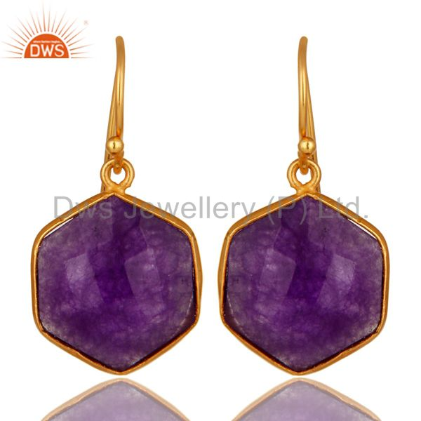 18K Yellow Gold Plated Sterling Silver Purple Chalcedony Bezel Set Hook Earrings