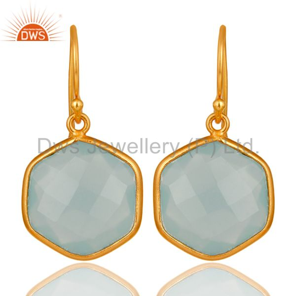 18K Gold On Sterling Silver Faceted Aqua Glass Bezel-Set Drop Earrings