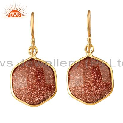 18K Yellow Gold Plated Sterling Silver Red Sun Sitara Hexagon Dangle Earrings