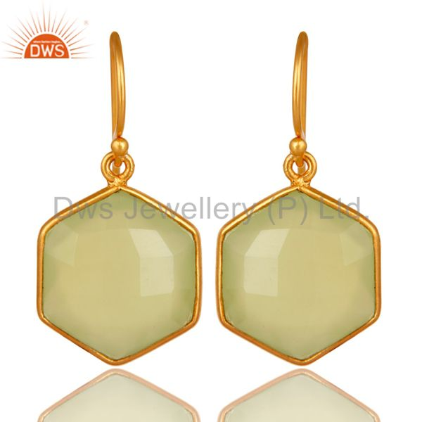 Faceted Green Chalcedony Gemstone Dangle Earrings In 18K Gold On Sterling Silver