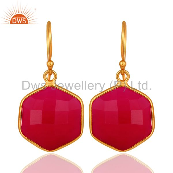 18K Gold On Sterling Silver Faceted Dyed Pink Chalcedony Bezel-Set Drop Earrings