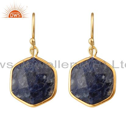 18K Yellow Gold Plated Sterling Silver Sodalite Bezel Set Hexagon Dangle Earring