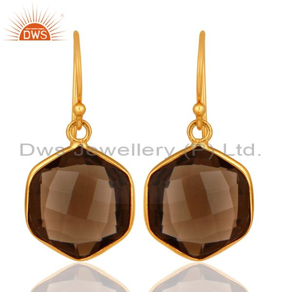 Smoky Quartz Faceted Hexagon Shaped 18K Gold On Sterling Silver Dangle Earrings