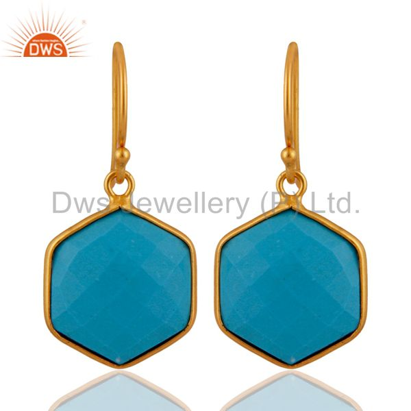 18K Yellow Gold Plated Sterling Silver Turquoise Bezel Set Hexagon Drop Earrings