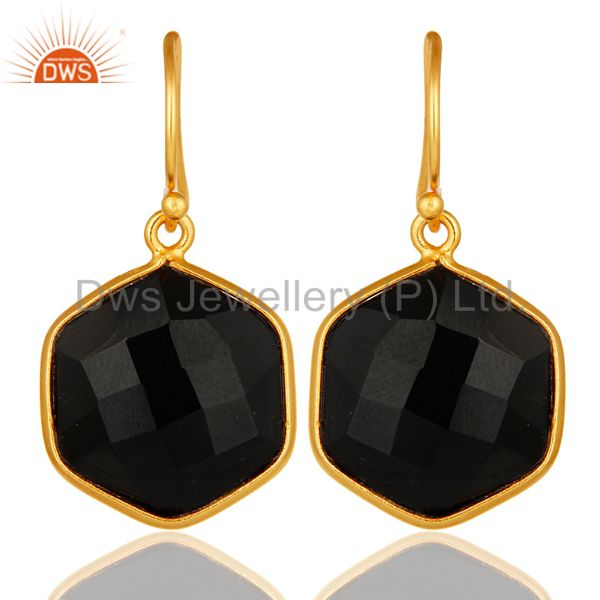 18K Yellow Gold Plated Sterling Silver Black Onyx Gemstone Drop Earrings