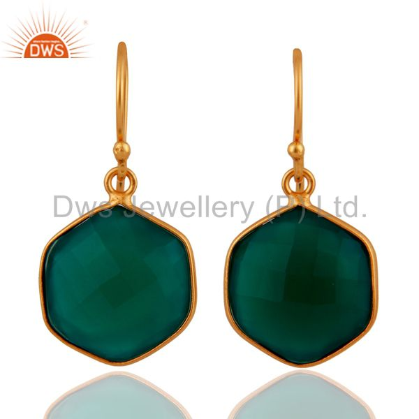 Faceted Green Onyx Bezel Set Gemstone Sterling Silver Earrings With Gold Plated