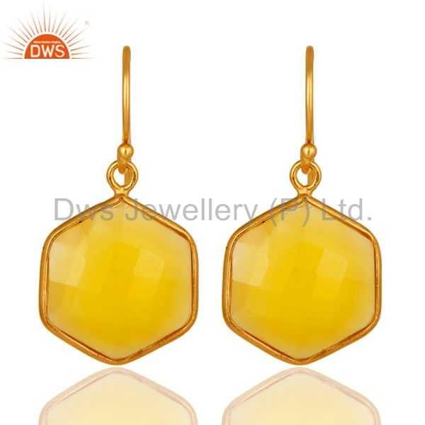 Bezel-Set Yellow Chalcedony 18K Gold Plated Sterling Silver Drop Earrings