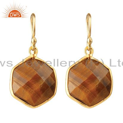 18K Yellow Gold Plated Sterling Silver Tiger Eye Bezel Hexagon Dangle Earrings