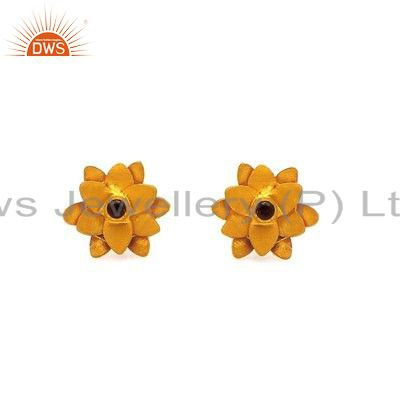 18K Yellow Gold Plated Sterling Silver Citrine Flower Designer Stud Earrings