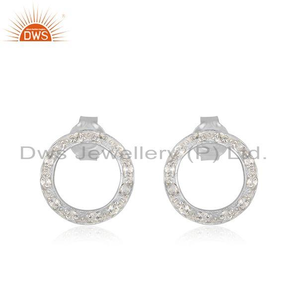 925 Sterling Silver White Topaz Gemstone Open Circle Stud Earrings