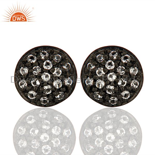 Oxidized Solid Sterling Silver White Topaz Stud Earrings For Womens