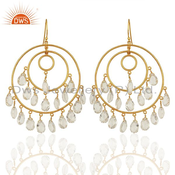 Wholesale Crystal Quartz Gemstone Brass Fashion Earrings Manufacturer