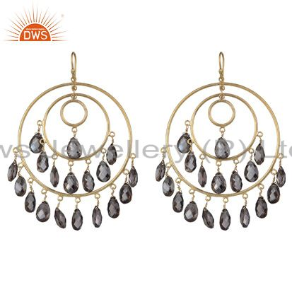 18K Yellow Gold Over Sterling Silver Smoky Quartz Chandelier Earrings
