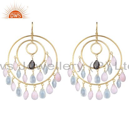 18K Yellow Gold Plated Sterling Silver Aqua Chalcedony Drop Chandelier Earrings