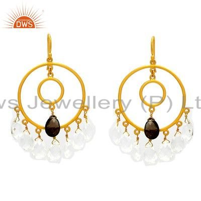 18K Yellow Gold Plated Sterling Silver Crystal Quartz And Smoky Quartz Earrings