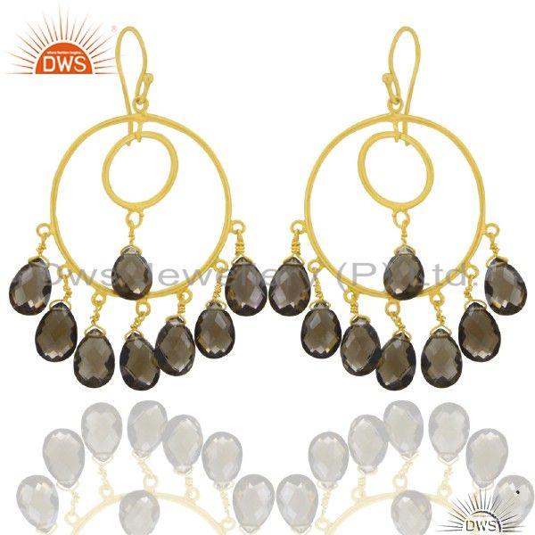18K Yellow Gold Plated Sterling Silver Smoky Quartz Chandelier Earrings