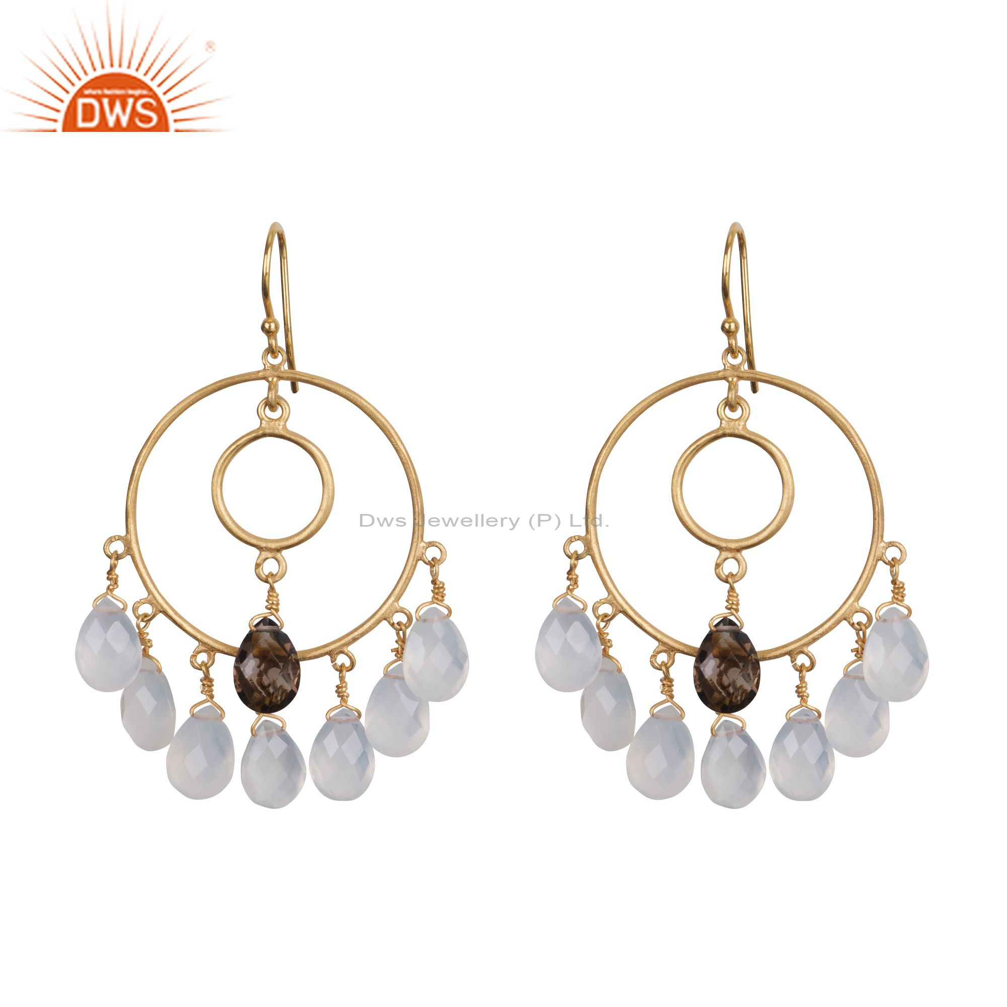18K Yellow Gold Plated Sterling Silver Blue Chalcedony Drop Chandelier Earrings