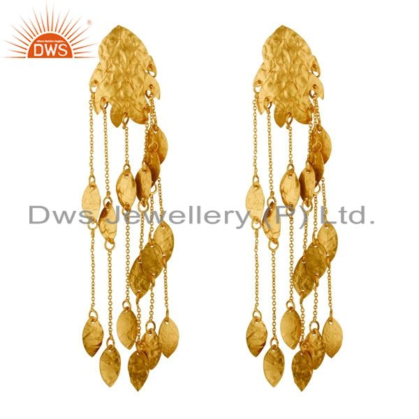 22K Yellow Gold Plated Sterling Silver Designer Link Chain Chandelier Earrings