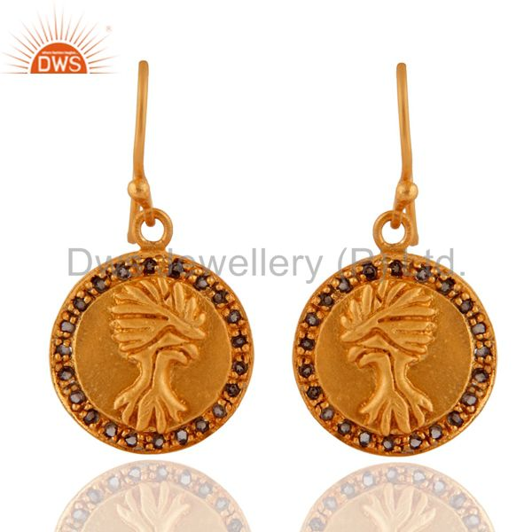 18K Yellow Gold Plated Sterling Silver Smoky Quartz Disc Design Earrings