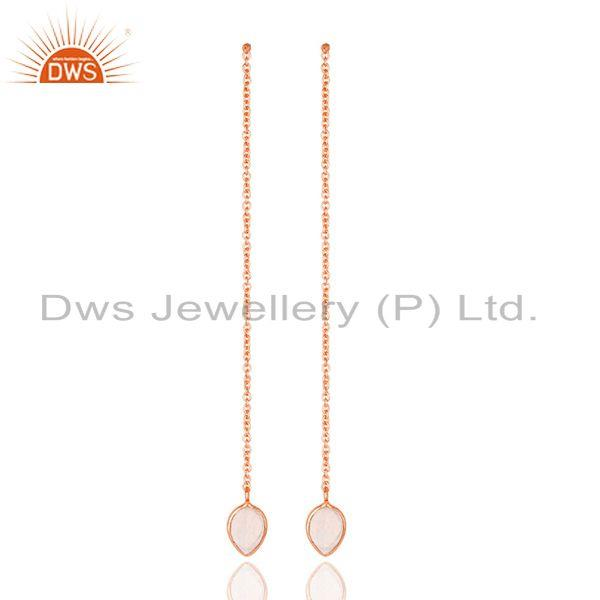 Rainbow Moonstone Rose Gold Plated Brass Chain Earrings Supplier Jaipur
