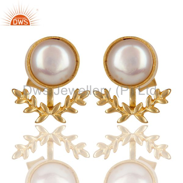 14K Gold Plated Handmade Perfect Fashion Design Pearl Studs Brass Earrings