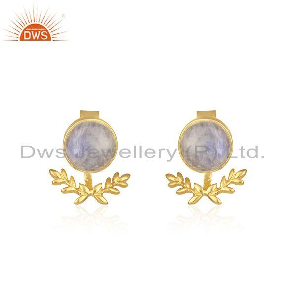Rainbow Moonstone Gold Plated Brass Fashion Stud Earring Manufacturer