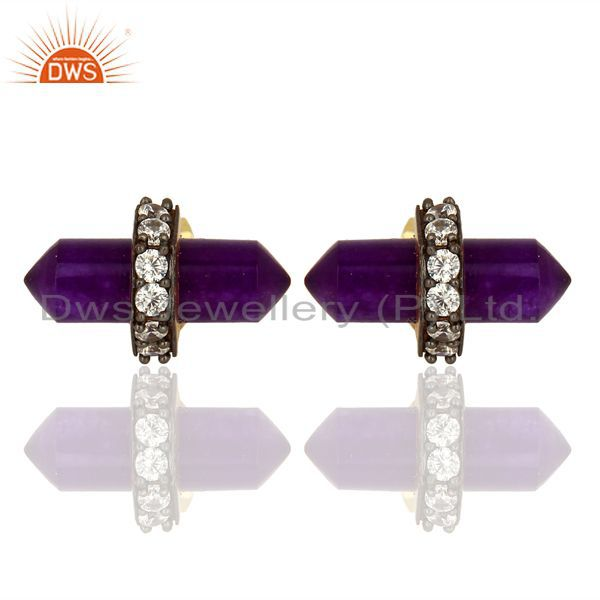 Aventurine Gemstone Womens Fashion Stud Earrings Jewelry Supplier