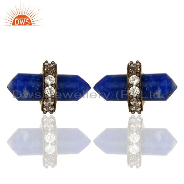 Lapis Gemstone CZ Stud Earring Handmade Fashion Earring Supplier