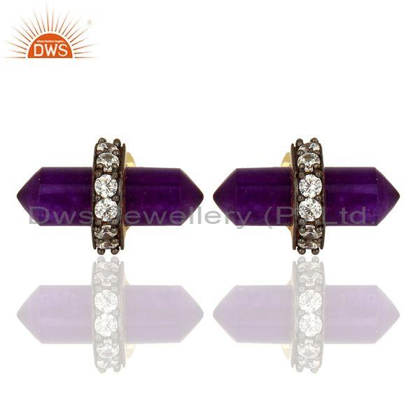 Amethyst And CZ Set Gold, Black On Silver Designer Earrings