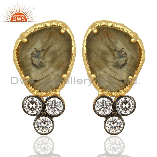 CZ & Labradorite Gemstone Gold Plated Fashion Stud Earring Manufacture