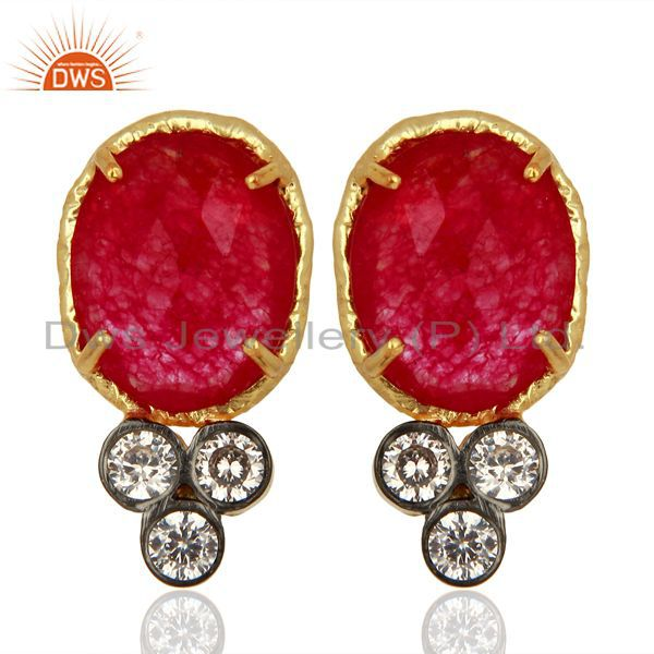 Red Aventiurine Gemstone CZ Gold Plated Fashion Stud Earrings