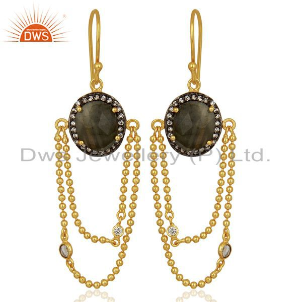 Natural Labradorite Gemstone Gold Plated Chain Fashion Earrings