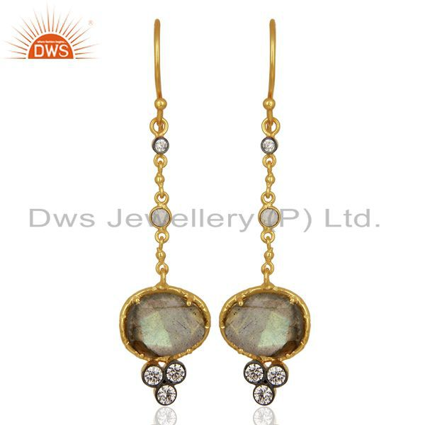 Handmade Gold Plated CZ Natural Labradorite Gemstone Drop Earrings