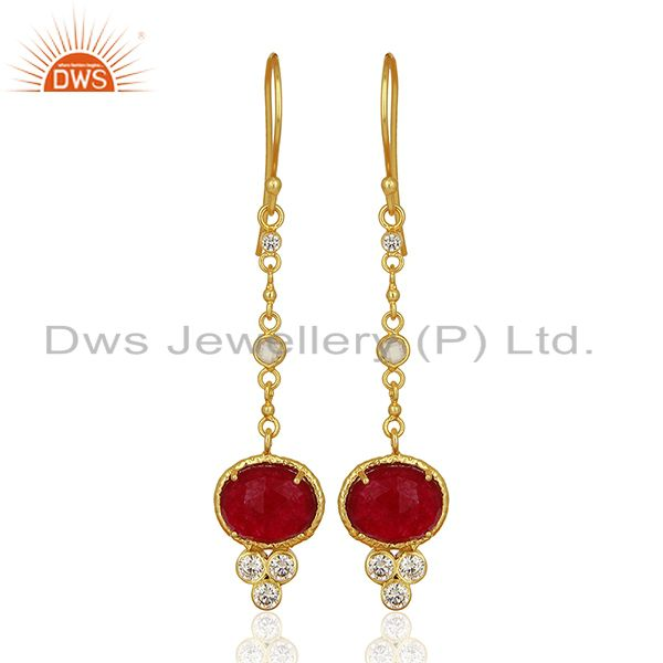 CZ Red Aventurine Gemstone Gold Plated Brass Earrings Supplier
